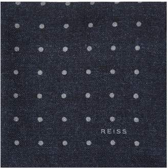 Reiss TAYLOR POLKA DOT POCKET SQUARE Airforce Blue