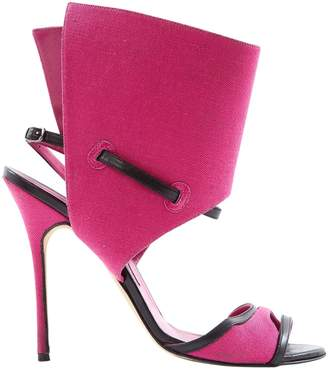 Manolo Blahnik Pink Cloth Sandals
