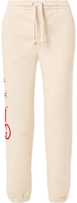 Gucci Printed Cotton-terry Track Pants - Ivory