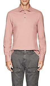 Brunello Cucinelli Men's Slub Cotton Polo Shirt - Pink