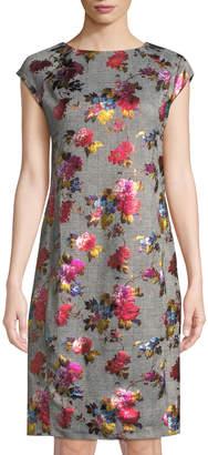 Label By 5twelve Plaid Foil Pattern Cap-Sleeve Dress