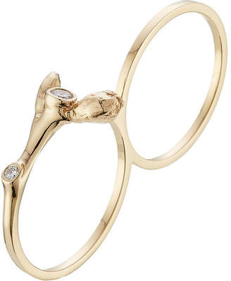 Sophie Bille Brahe Arbre 18kt Yellow Gold Double ring with White Diamonds