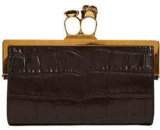 Alexander McQueen Crocodile Effect Leather Ring Clutch - Womens - Black