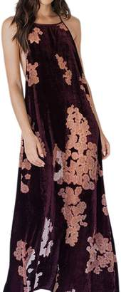 Band of Gypsies Bandofgypsies Parker Velvet Floral Maxi Dress