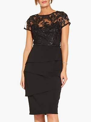 Short Sequin Layered Dress, Black