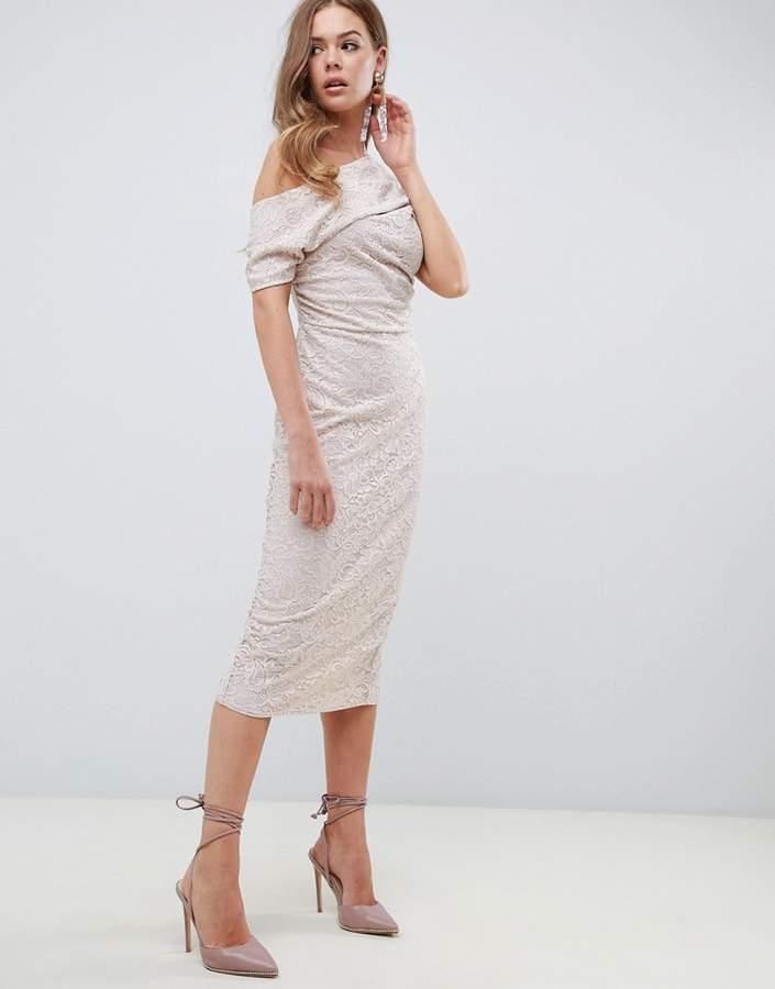 ASOS DESIGN ASOS Pleated Shoulder Lace Midi Dress