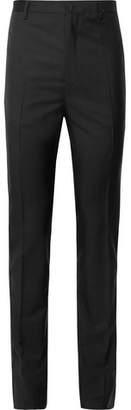 Lanvin Black Slim-Fit Glittered Grosgrain-Trimmed Wool And Mohair-Blend Tuxedo Trousers