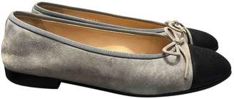 Chanel Grey Suede Flats
