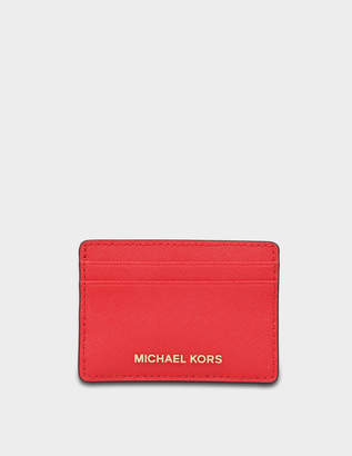 MICHAEL Michael Kors Jet Set Travel Card Holder in Bright Red Saffiano Leather