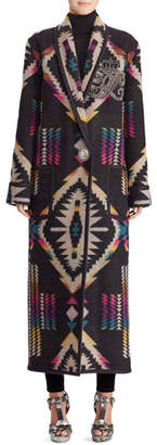 Ralph Lauren 50th Anniversary Sauville Embellished One-Button Tapestry-Intarsia Long Coat
