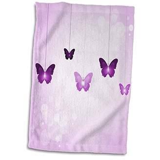 3D Rose Cute Dark and Light Purple Dangling Butterflies Hand/Sports Towel