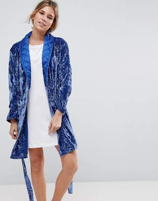 Asos Crushed Velvet Robe With Quilted Collar