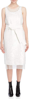 Jil Sander White Sequin Belted Dress