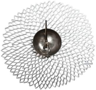 Chilewich Floral Shaped Pressed Dahlia Silver Placemat