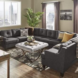 Weston Home Breame Dark Grey Removeable Cushion Long U-Shaped Sofa Sectional, Multiple Options
