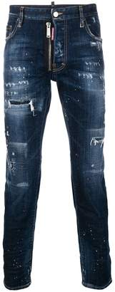 DSQUARED2 distressed front zip detail jeans