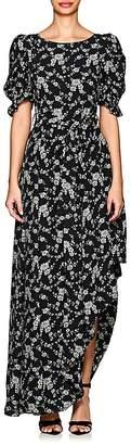 Co Women's Asymmetric-Hem Floral Gabardine Dress