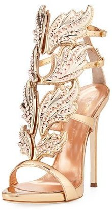 Giuseppe Zanotti Coline Wings Leather 110mm Sandal, Rose Gold $2,125 thestylecure.com
