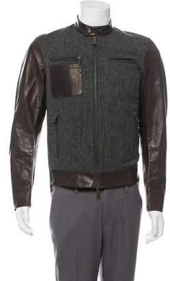 DSQUARED2 Wool-Paneled Leather Jacket