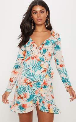 PrettyLittleThing Beige Floral Stripe Frill Wrap Tea Dress