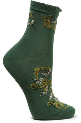 Falke Cotton-blend Jacquard Socks - Forest green