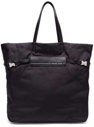 Prada Logo Patch Nylon Tote Bag - Womens - Black