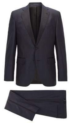 BOSS Hugo Tonal Plaid Wool-Silk Tuxedo, Regular Fit Jelvan/Livan 36S Dark Blue