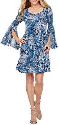 MSK 3/4 Sheer Split Sleeve Floral Puff Print Shift Dress