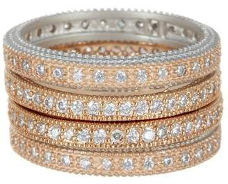 Freida Rothman Rose Gold Plated & Sterling Silver Pave CZ Eternity Ring Set - Size 5