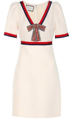 Gucci V-neck silk and wool dress