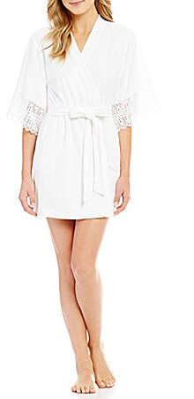 Betsey Johnson Betsey Johnson Mrs-Embroidered Crochet-Trimmed Baby Terry Wrap Robe
