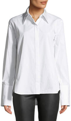 Helmut Lang Point-Collar Snap-Front Long-Sleeve Cotton Shirt