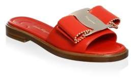 Salvatore Ferragamo Ornament Studded Bow Slide Sandals