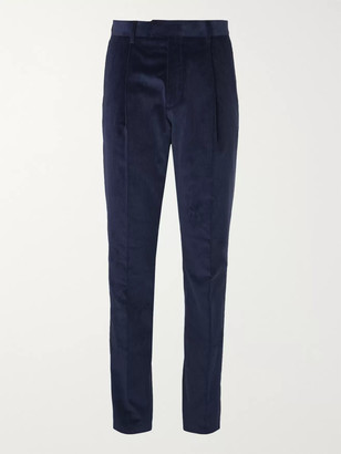 Caruso Indigo Slim-Fit Tapered Cotton-Blend Corduroy Suit Trousers