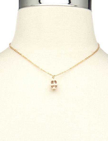 Charlotte Russe Enamel Skull Necklace & Earrings Set