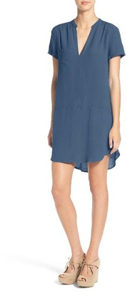Women's Lush Split Neck Shift Dress $46 thestylecure.com