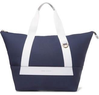 Eddie Harrop - Leather-trimmed Canvas Weekend Bag - Blue