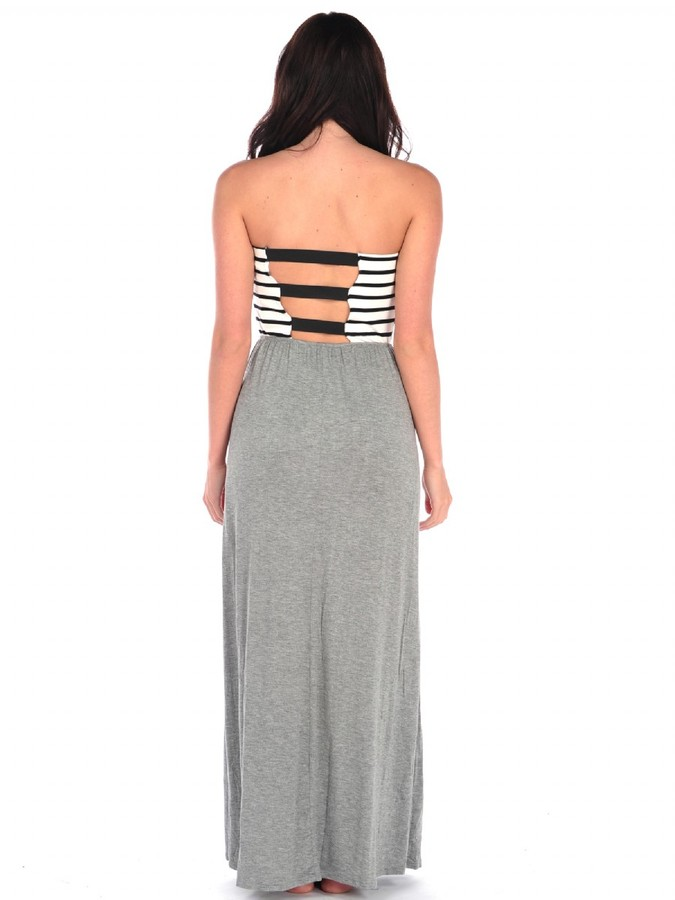 Vintage Havana Stripe Solid Maxi Dress