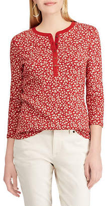 Chaps Petite Straight-Fit Floral-Print Henley