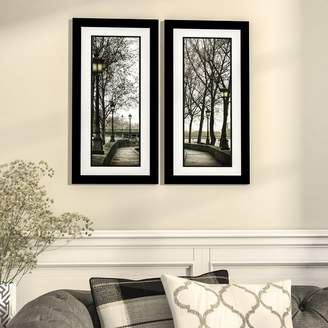 Three Posts 'Along the Quai' 2 Piece Framed Photographic Print Set in Black and White