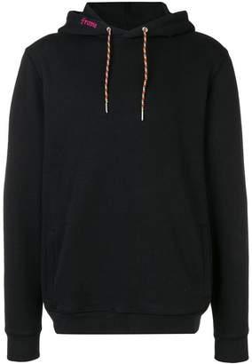 Frame contrast drawstring hoodie