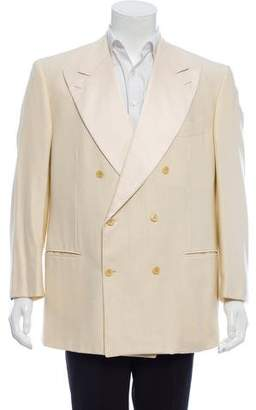 Luciano Barbera Wool & Silk-Blend Double-Breasted Blazer