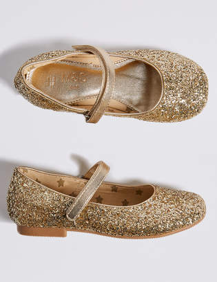 Marks and Spencer Kids' Glitter Ballerina Shoes (5 Small - 12 Small)