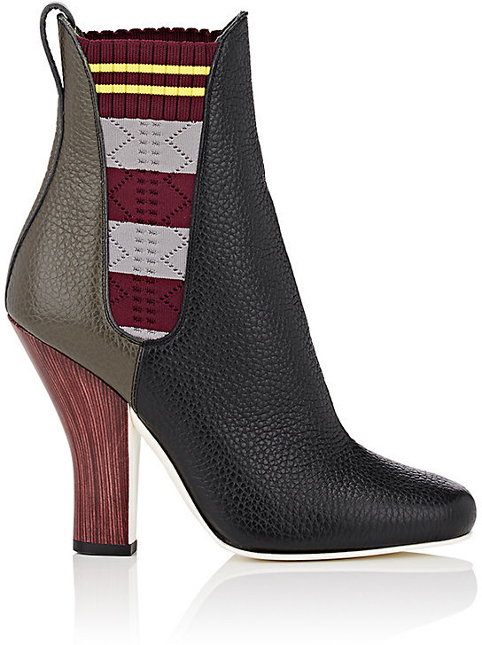 Fendi Women's Contrast-Gore Leather Chelsea Boots