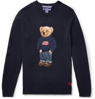 Ralph Lauren Purple Label Bear-intarsia Cashmere Sweater - Navy