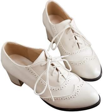 Susanny Women's Shoe Classic Lace Up Dress Pumps Mid Heel Wingtip Saddle Oxfords Brogue Shoes 7 B (M) US