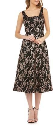 Kay Unger Sleeveless Sequin Mesh Tea Length Dress