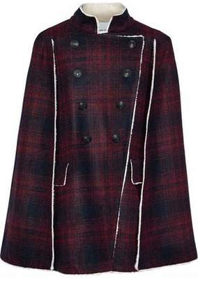 Pierre Balmain Double-breasted Faux Shearling-trimmed Checked Felt Cape
