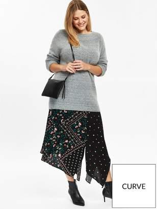 Evans Patchwork Asymmetric Skirt - Black