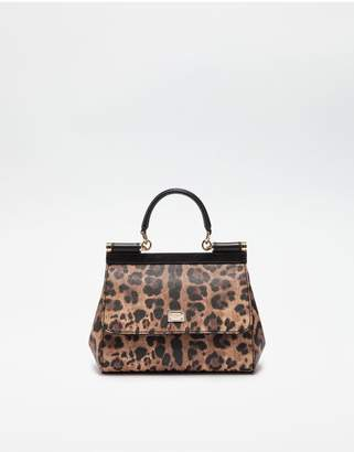Dolce & Gabbana Small Sicily Bag In Leopard Textured Leather